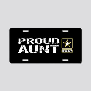 U.S. Army: Proud Aunt (Blac Aluminum License Plate