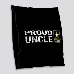 U.S. Army: Proud Uncle (Black) Burlap Throw Pillow