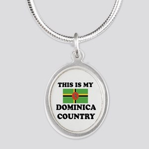 This Is My Dominica Country Silver Oval Necklace