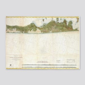 Vintage Map of The Hamptons (1857) 5'x7'Area Rug