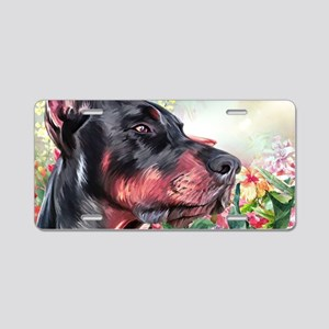 Doberman Painting Aluminum License Plate