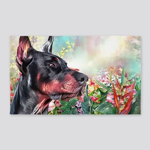 Doberman Painting Area Rug