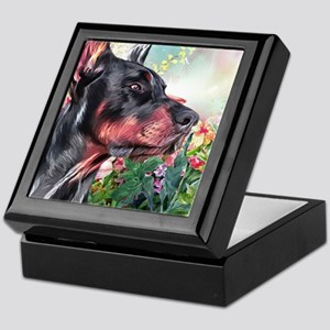 Doberman Painting Keepsake Box