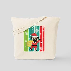 Vintage Retro Christmas Santa Pug. Let it Tote Bag