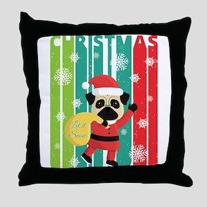 Vintage Retro Christmas Santa Pug. Le Throw Pillow