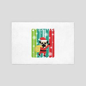 Vintage Retro Christmas Santa Pug. Let 4' x 6' Rug
