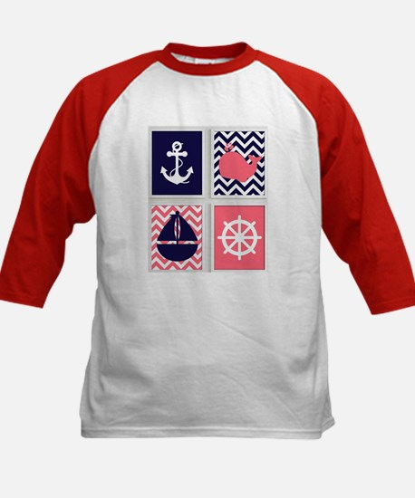NAUTICAL IMAGES ON NAVY AND CORAL CHEVRON Baseball