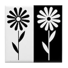 Black/white Flower Print Tile Coaster