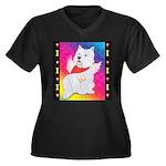 Happy Angel Women's Plus Size V-Neck Dark T-Shirt