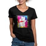 Happy Angel Women's V-Neck Dark T-Shirt