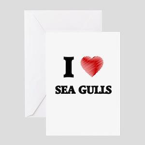 I Love Sea Gulls Greeting Cards