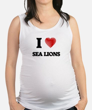 I Love Sea Lions Maternity Tank Top