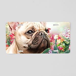 French Bulldog Painting Aluminum License Plate