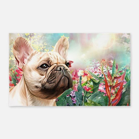 French Bulldog Painting Area Rug