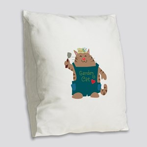 Garden Cat Burlap Throw Pillow