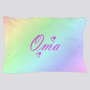 pink oma text Pillow Case