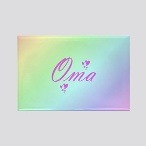 pink oma text Magnets