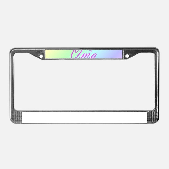 pink oma text License Plate Frame