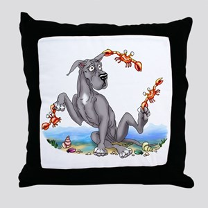 Great Dane Black Crabby Throw Pillow