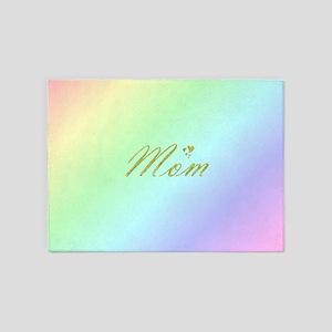 golden text mom 5'x7'Area Rug