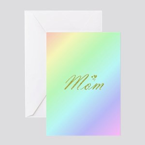 golden text mom Greeting Cards