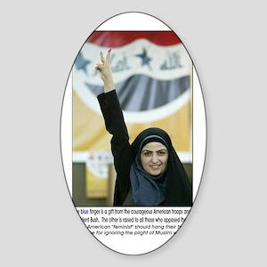 Purple finger Iraqi Arab woman Oval Sticker