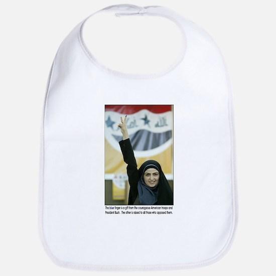 Blue Ink Iraqi Arab Woman Voting Bib
