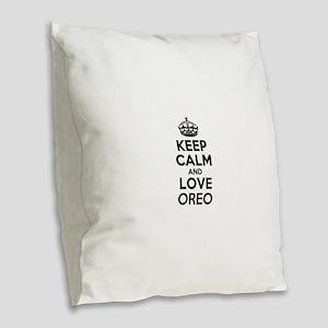Keep Calm and Love OREO Burlap Throw Pillow