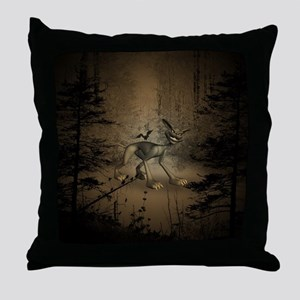 In the dar forest Throw Pillow