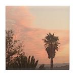 Palm Tree sunset Tile Coaster