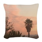 Palm Tree sunset Woven Throw Pillow