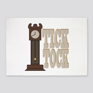 Tick Tock Clock 5'x7'Area Rug