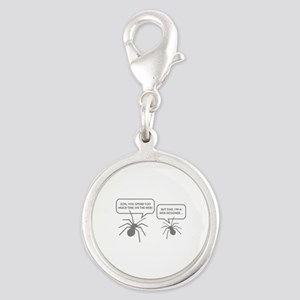 Too Much Time On The Web Silver Round Charm