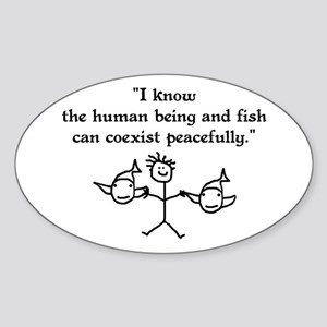 Fish & Humans Coexist Oval Sticker