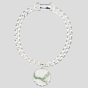 Vintage Map of The Savan Charm Bracelet, One Charm