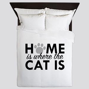 Home Is Where The Cat Is Queen Duvet