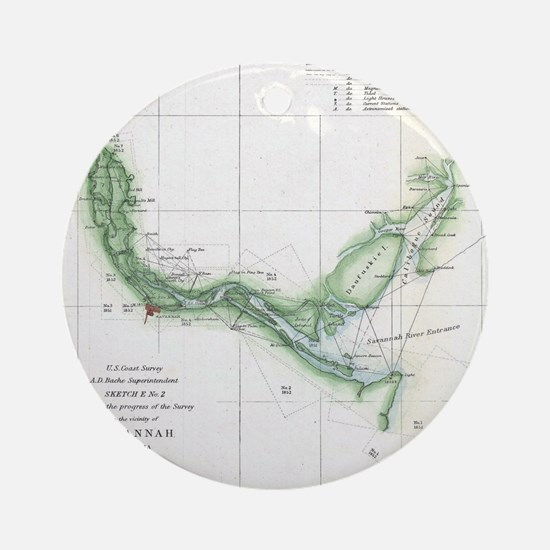Vintage Map of The Savannah River ( Round Ornament