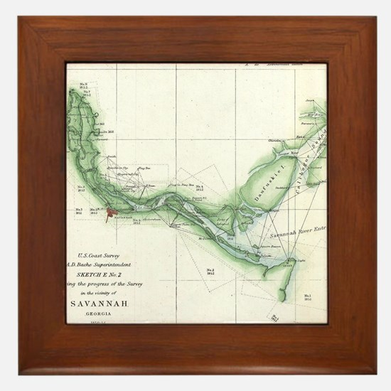 Vintage Map of The Savannah River (185 Framed Tile