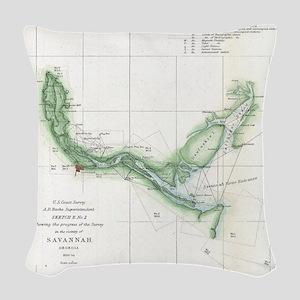 Vintage Map of The Savannah Ri Woven Throw Pillow