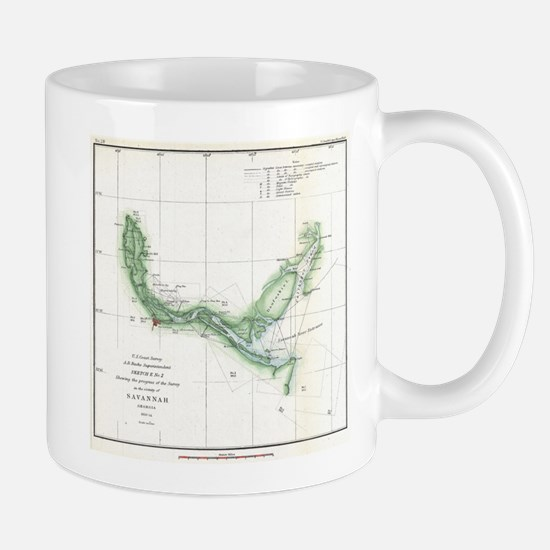 Vintage Map of The Savannah River (1854) Mugs