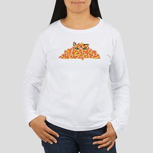 Candy Corn Cat Women's Long Sleeve T-Shirt