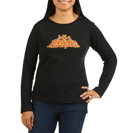 Candy Corn Cat Women's Long Sleeve Dark T-Shirt