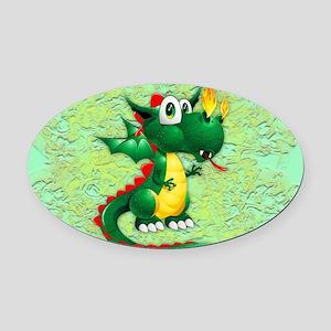 Baby Dragon Cute Cartoon Oval Car Magnet