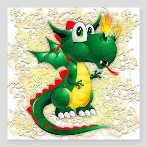 """Baby Dragon Cute Cartoon Square Car Magnet 3"""" x 3"""""""