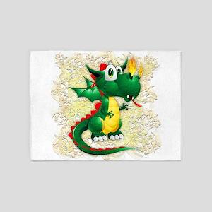 Baby Dragon Cute Cartoon 5'x7'Area Rug