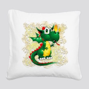 Baby Dragon Cute Cartoon Square Canvas Pillow
