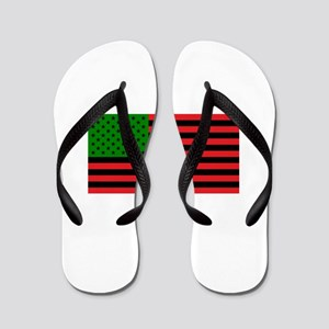 African American Flag - Red Black and G Flip Flops