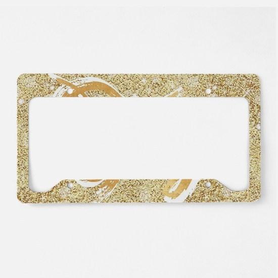 gold glitter typography joy License Plate Holder
