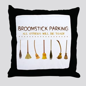 BROOMSTICK PARKING Throw Pillow