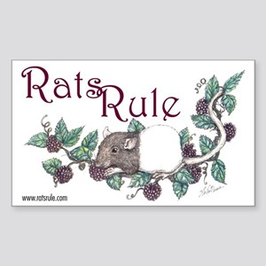 Rats Rule Berries Rectangle Sticker